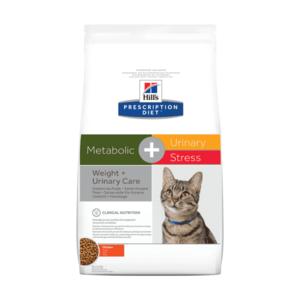 Сухой диетический корм для кошек  Hill's Prescription Diet Metabolic, Urinary Stress при  профилактике цистита, вызванного стрессом и способствует снижению и контролю веса, с курицей, 1,5 кг