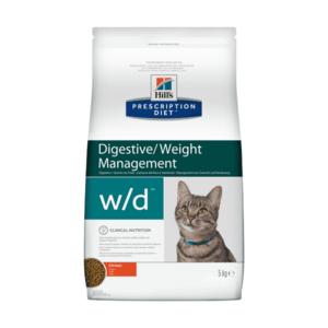 Сухой диетический корм для кошек Hill's Prescription Diet w/d Digestive при поддержании веса и сахарном диабете, с курицей (1,5 кг 5 кг)