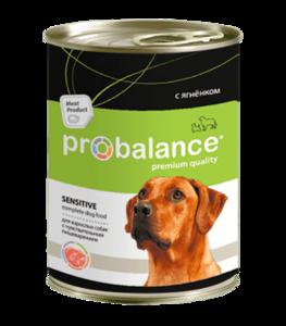 Консервы Probalance для собак с чувствительным пищеварением с ягненком в соусе.