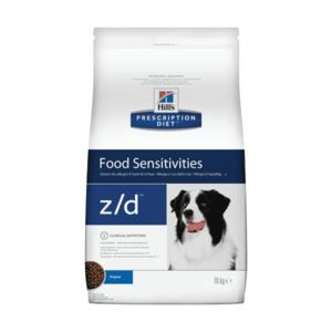 Сухой диетический гипоаллергенный корм для собак  Hill's Prescription Diet z/d Food Sensitivities при пищевой аллергии (3 кг,  10 кг).