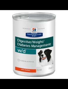 Влажный диетический корм для собак Hill's Prescription Diet w/d Digestive при поддержании веса и сахарном диабете, с курицей 370 г