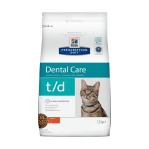 Сухой диетический корм для кошек Hill's Prescription Diet t/d Dental Care при заболеваниях полости рта, с курицей 1,5 кг