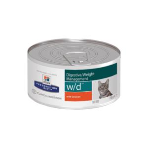 Влажный диетический корм для кошек Hill's Prescription Diet w/d Digestive при поддержании веса и сахарном диабете, с курицей 156 г