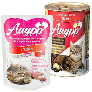 Консервы Амурр для кошек, говядина в соусе (в упаковке 24 шт. по 100гр.)
