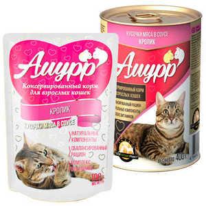 Консервы Амурр для кошек, кролик в соусе (в упаковке 24 шт. по 100гр.)