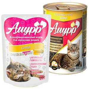 Консервы Амурр для кошек, курица в соусе (в упаковке 24 шт. по 100гр.)