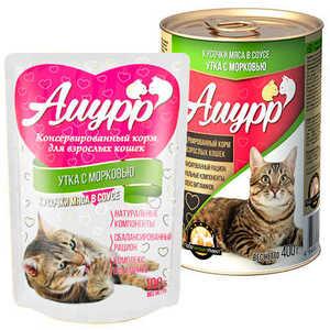 Консервы Амурр для кошек, утка в соусе (в упаковке 24 шт. по 100гр.)