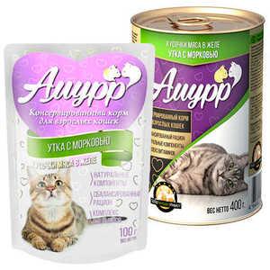 Консервы Амурр для кошек, утка в желе (в упаковке 24 шт. по 100гр.)