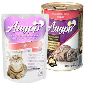 Консервы Амурр для кошек, ягненок в желе (в упаковке 24 шт. по 100гр.)