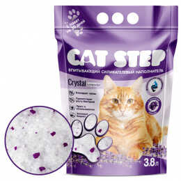 """Наполнитель для кошачьих туалетов """"Cat Step"""", силикагель, лаванда, 3,8 л"""
