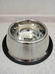 """Миска для собак """"Триол"""" нержавеющая сталь на резинке. 0,8л."""