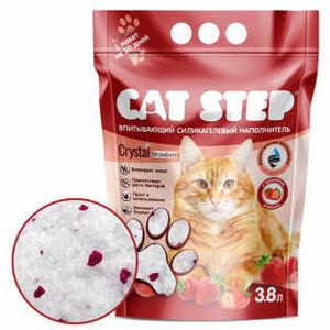 """Наполнитель для кошачьих туалетов """"Cat Step"""", силикагель, клубника, 3,8 л"""