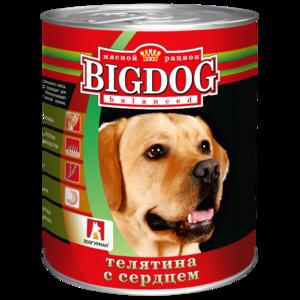 BigDog влажный корм для собак, телятина с сердцем, 850 гр.