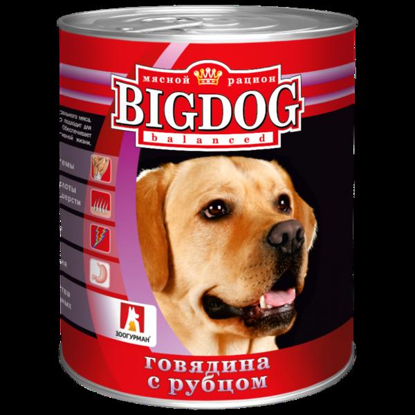 BigDog влажный корм для собак с говядиной и рубцом, 850 кг.