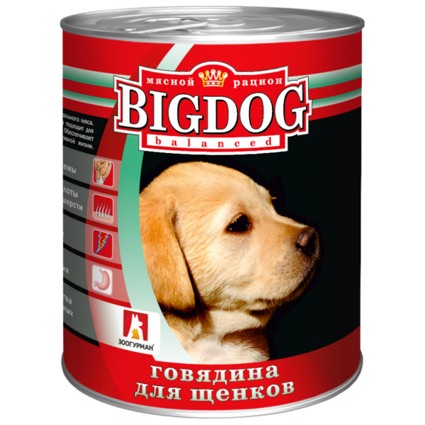 BigDog влажный корм для щенков с говядиной, 850 гр.