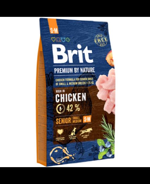 Brit Premium By Nature Seniior S+M для пожилых собак мелких и средних пород с курицей
