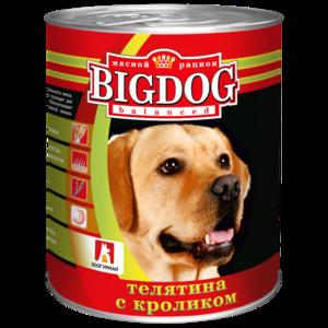 BigDog влажный корм для собак с телятиной и кроликом, 850 гр.