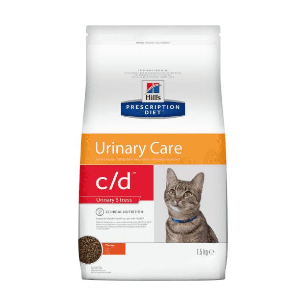 Сухой диетический корм для кошек Hill's Prescription Diet c/d Urinary Stress  при профилактике цистита и мочекаменной болезни (мкб),  в том числе вызванные стрессом, с курицей 1,5 кг