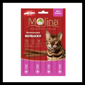 Molina Жевательные колбаски из курицы и утки для кошек