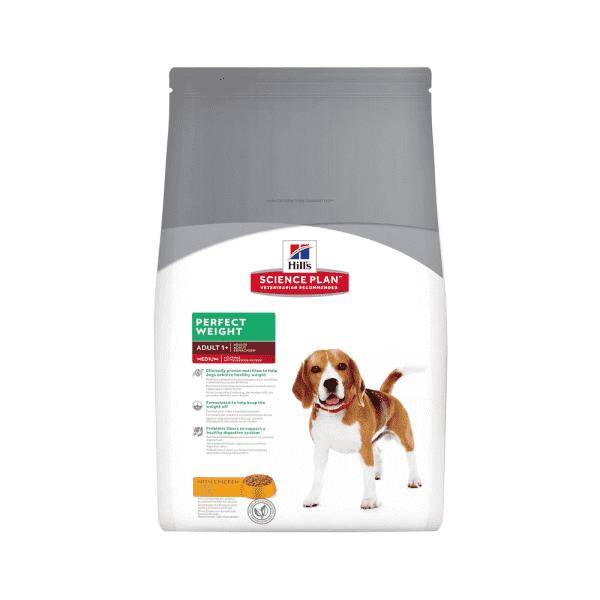 Hill's Science Plan Perfect Weight сухой корм для собак, склонных к набору веса с курицей (2 кг, 10 кг).