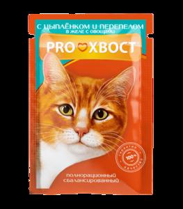 Консервы ProХвост для кошек с цыпленком и перепелом (в упаковке 25 шт. по 85 гр.)