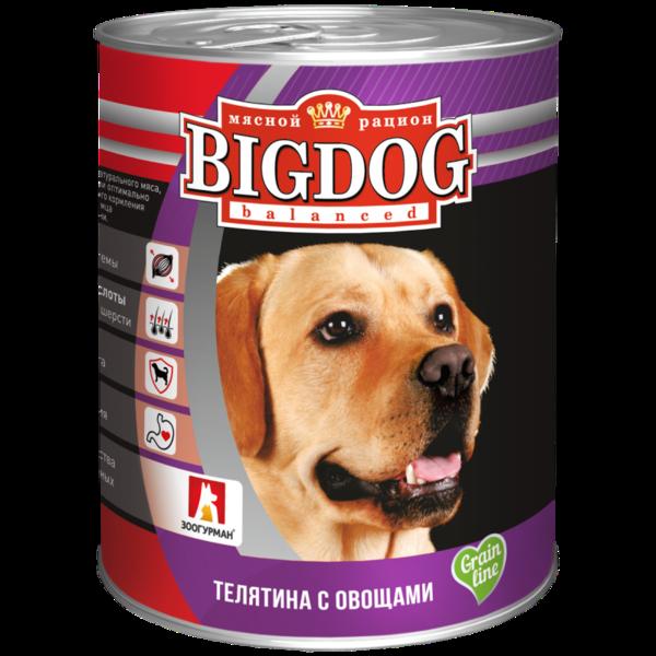 BigDog влажный корм для собак с телятиной с овощами, 850 гр.