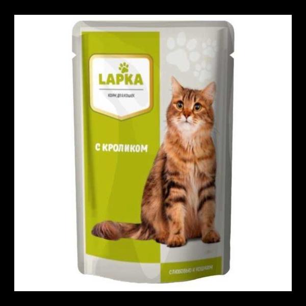 Lapka. Пауч. Кролик в соусе для кошек (в упаковке 28 шт. по 85 гр.)