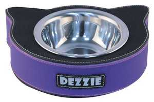 Dezzie Миска для кошек, 20,5*15,5*5см 200мл, черно-фиолетовая.