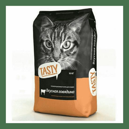 Tasty, сухой корм для кошек с говядиной