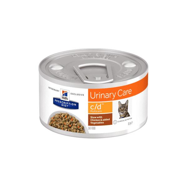Влажный диетический корм в виде рагу для кошек Hill's  Prescription Diet  c/d  Multicare,  при  профилактике мочекаменной болезни (мкб), с курицей и добавлением овощей 82 г.