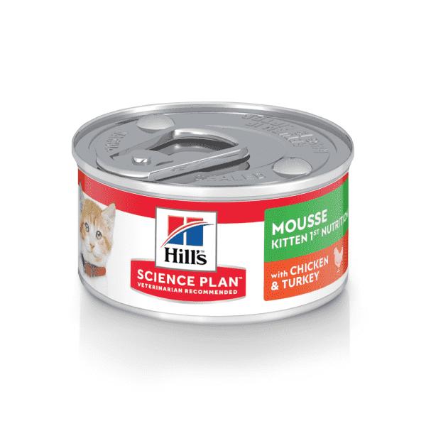 Влажный корм Hill's Science Plan для котят для здорового роста и развития, мусс с курицей и индейкой, 82 г