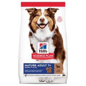 Hill's Science Plan сухой корм для пожилых собак (7+) средних пород для поддержания здорового пищеварения, с  ягненком и рисом (2,5 кг 12 кг).