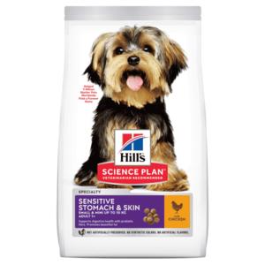 Hill's Science Plan Sensitive Stomach & Skin сухой корм для взрослых собак мелких пород с чувствительной кожей и пищеварением, с курицей (1,5 кг 3 кг, 12 кг)