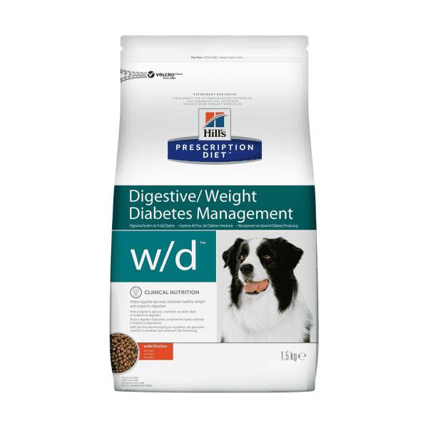 Сухой диетический корм для собак Hill's Prescription Diet w/d Digestive при поддержании веса и сахарном диабете, с курицей  (1,5 кг, 12 кг)