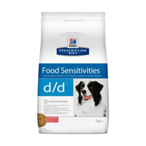 Сухой диетический корм для собак Hill's Prescription Diet d/d Food Sensitivities при аллергии, заболеваниях кожи и неблагоприятной реакции на пищу, с лососем и рисом (2 кг, 12 кг).