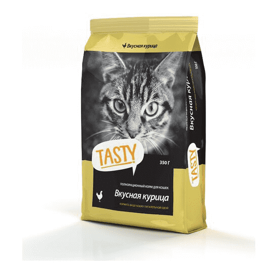 Tasty, сухой корм для кошек с курицей