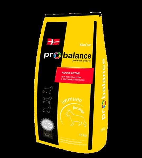 Pro Balance Immuno Adult Active, сухой корм для собак с птицей (15 кг.)