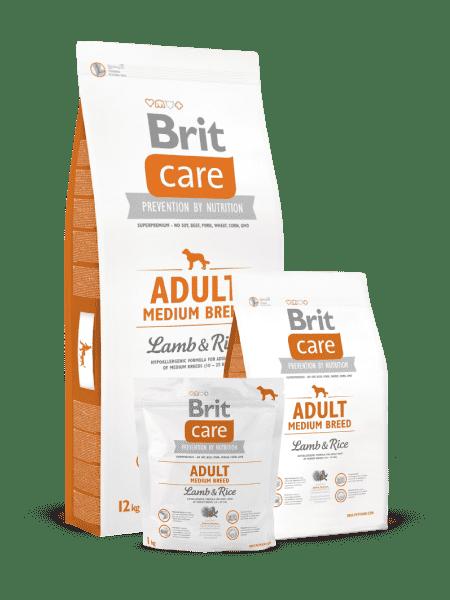 Brit Care Adult Medium Breed Lamb & Rice для взрослых собак средних пород (3 кг, 12 кг).