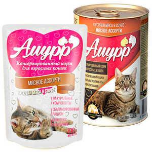 Консервы Амурр для кошек, мясное ассорти в соусе (в упаковке 24 шт. по 100 гр.)