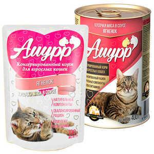 Консервы Амурр для кошек, ягненок в соусе (в упаковке 24 шт. по 100гр.)