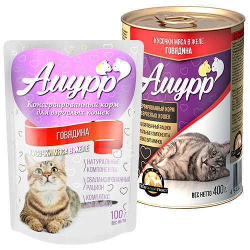 Консервы Амурр для кошек, говядина в желе. (в упаковке 24 шт. по 100гр.)