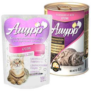 Консервы Амурр для кошек, кролик в желе (в упаковке 24 шт. по 100гр.)