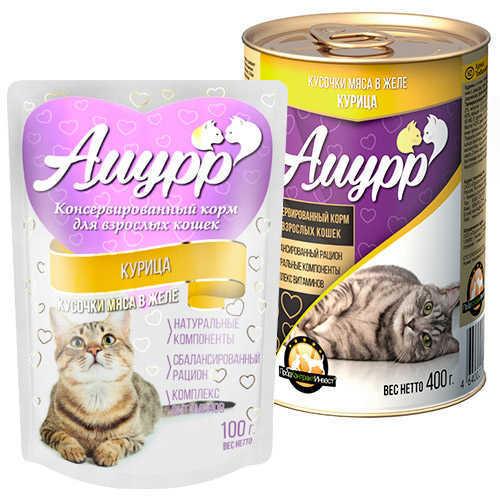 Консервы Амурр для кошек, курица в желе (в упаковке 24 шт. по 100гр.)