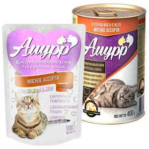 Консервы Амурр для кошек, мясное ассорти в желе (в упаковке 24 шт. по 100гр.)