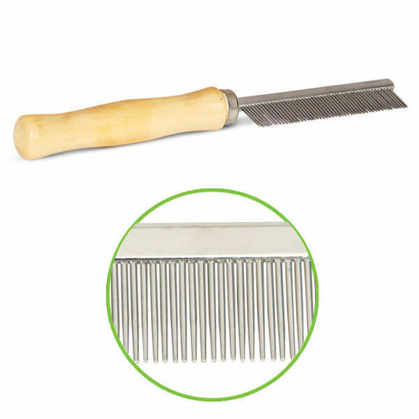 Расческа мелкие длинные зуб. с деревянной ручкой М312
