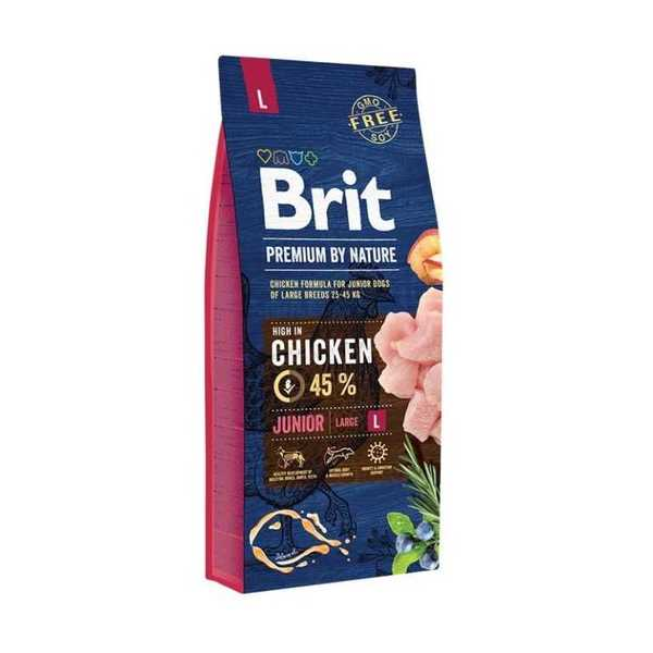 Brit Premium By Nature Junior L для молодых собак крупных пород с курицей