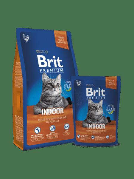 Brit Premium Cat Indoor для взрослых кошек с курицей в соусе и куриной печени для домашнего содержания.