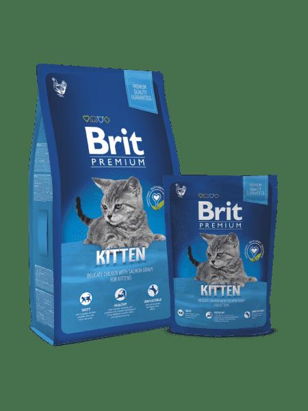 Brit Premium Cat Kitten для котят с курицей и лососевым соусом.