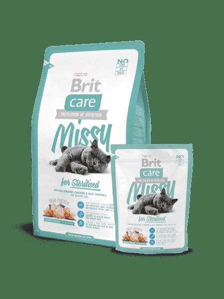 Brit Care Cat Missy для стерилизованных кошек с курицей и рисом.