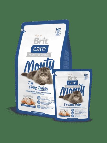 Brit Care Cat Monty сухой корм для взрослых кошек с курицей и рисом живущих в доме (400 гр, 2 кг).